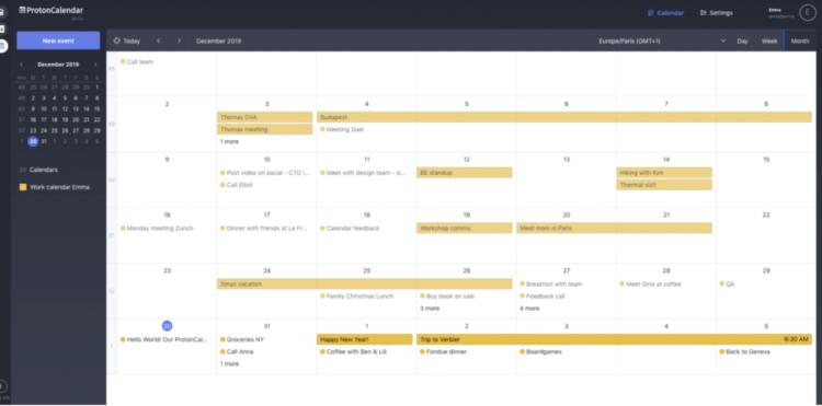 ProtonnMail calendar