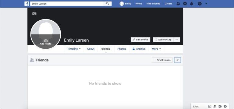 Capture d'écran de l'onglet amis Facebook