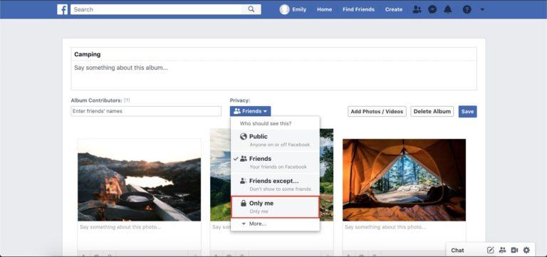 album Facebook affichant moi uniquement dans le menu déroulant des options