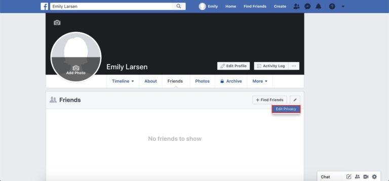 capture d'écran du bouton modifier la confidentialité Facebook