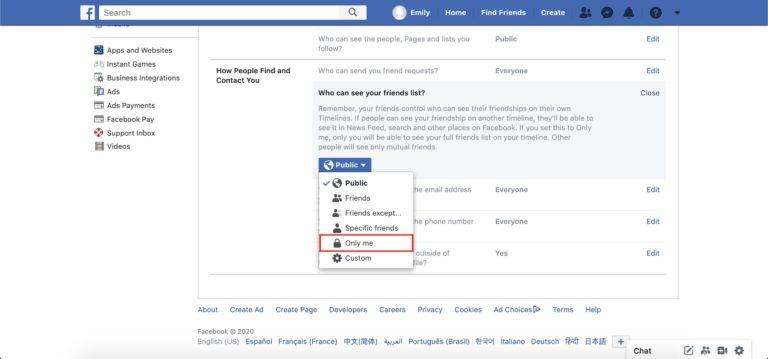 comment les gens peuvent vous trouver ? onglet déroulant Facebook