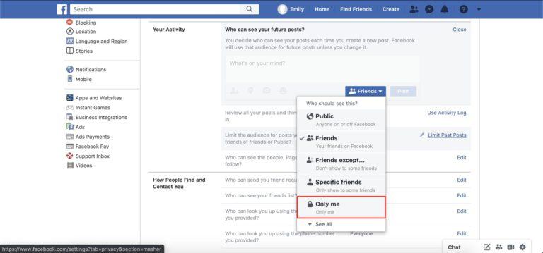 Facebook votre section d'activité dans le menu des paramètres