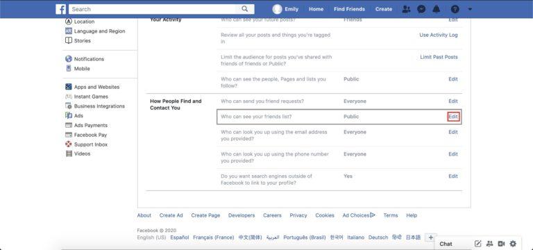 paramètres généraux de Facebook