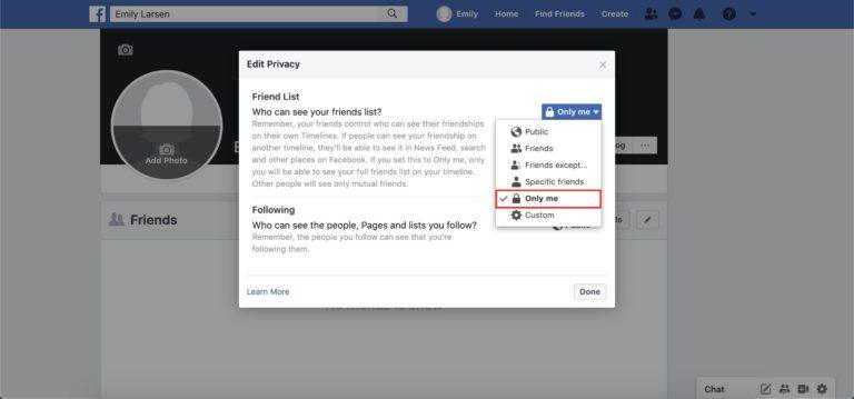 préférences de la liste d'amis Facebook